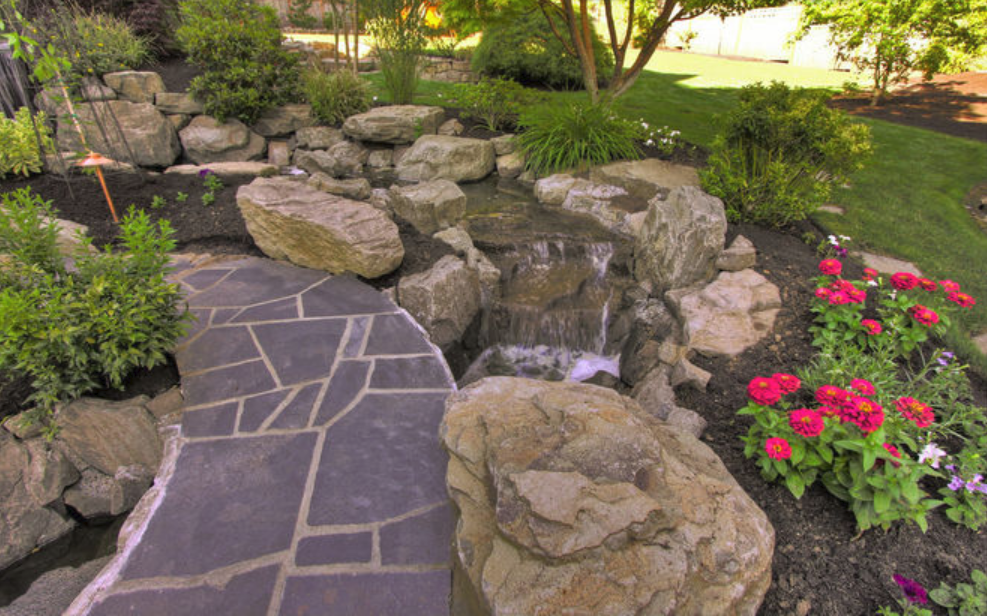 Small Water Feature at a Custom Home
